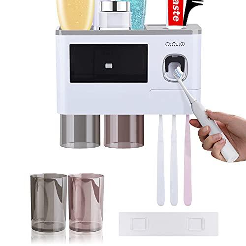 JEEZAO Porta Spazzolino Muro con Dispenser Automatico di Dentifricio,Tazza Magnetica e Cosmetici Organizer Cassetto,6/7 Slot per Spazzolino con Coperchio (Grigio,2 Tazze)