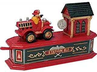 Bits and Pieces - Fire Engine Bank - Collectible Cast Iron Mechanical Bank