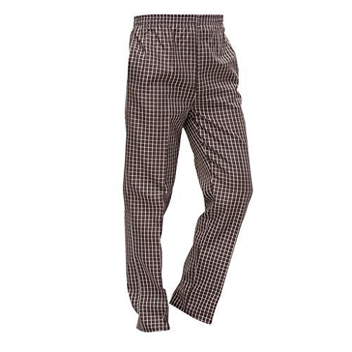 B Baosity Pantalones de Cocina/Uniforme de Cocinero para Hombre Mujer de Algodón Hotel Duradero Confortable - Cheque Marron, L