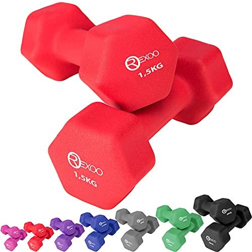 REXOO Neopren Kurzhanteln Hanteln, Gewichte 2er Set Hantelset Fitness Aerobic 2X 1,5 kg rot