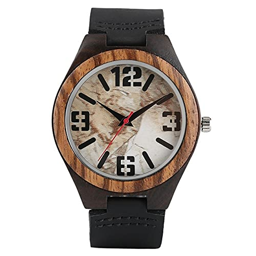 GIPOTIL Diseño de mármol Retro Números Grandes Relojes de Madera Natural para Hombre Reloj de Madera analógico de Cuarzo Hecho a Mano Reloj de Pulsera para Hombre Reloj de Madera, 2