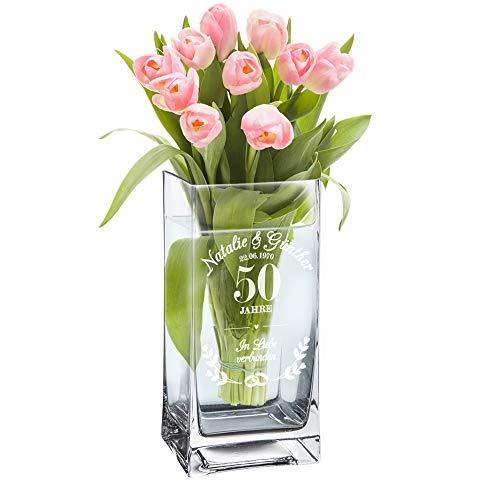 Casa Vivente Blumenvase mit Gravur zur Goldenen Hochzeit, Vase mit Ring-Motiv, Personalisiert mit Namen und Datum, Geschenk zum 50. Hochzeitstag