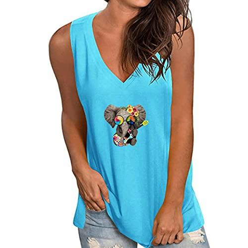 UKKD Krótki rękaw 5XL oversize białe koszule letnie koszulki plażowe bez rękawów dekolt w serek luźne damskie koszulki moda uliczna codzienne damskie topy-1640-11Dax-niebieski, XXL