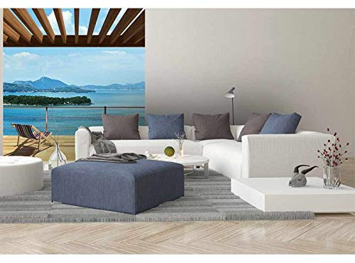 Vlies Fotobehang UITZICHT OP HET MEER | Niet-Geweven Foto Mural | Wall Mural - Behang - Reusachtige Wandposter | Premium Kwaliteit - Gemaakt in de EU | 225 cm x 250 cm