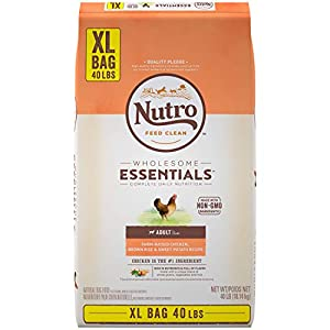 NUTRO WHOLESOME ESSENTIALS Natural Adult Dry Dog Food Farm-Raised Chicken, Brown Rice & Sweet Potato Recipe, 40 lb. Bag from Mars Petcare