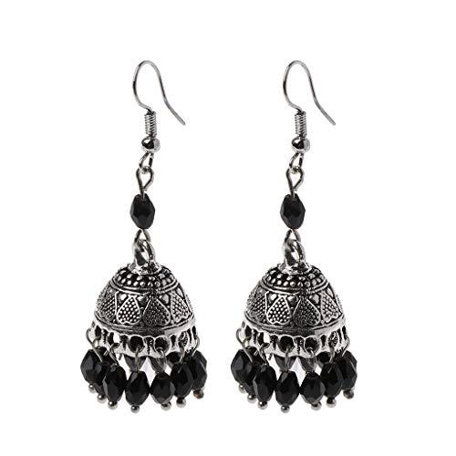 SimpleLife Frau Ohrringe, Böhmen ethnischen Stil Kristall Tropfen Lange Anhänger Ohrringe, Retro indischen Bollywood Creolen Gypsy Schmuck