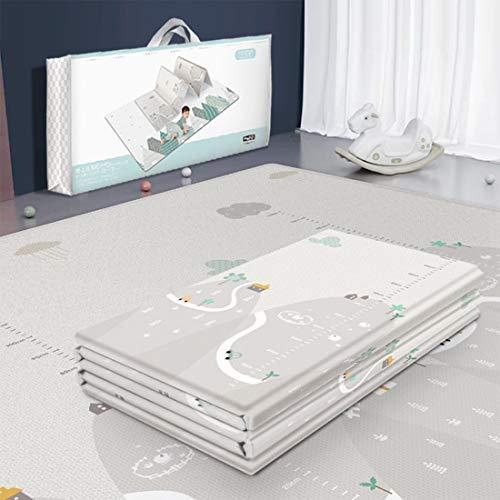 PHYNEDI Krabbelmatte, Spielmatte XXXL mit Tier Doppelseitige Wasserdichte Kinderteppich Zusammenfaltbare Baby Gym, 200 * 180 * 1cm, Weiß