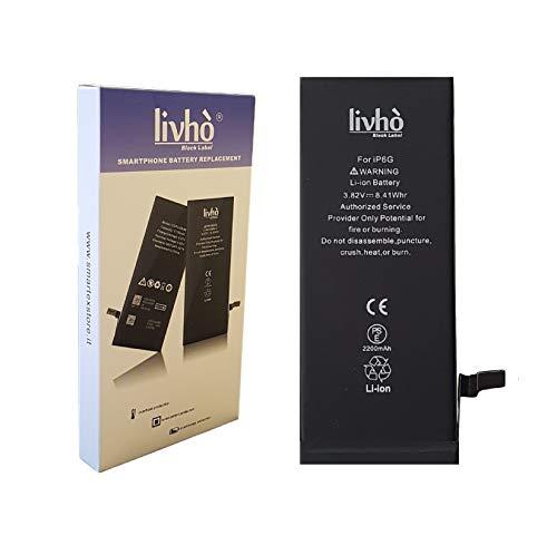 livhò Black Label Batterie de Haute Capacité Compatible avec iPhone 6 [0 Cycle de Recharge, Dure Plus Longtemps]