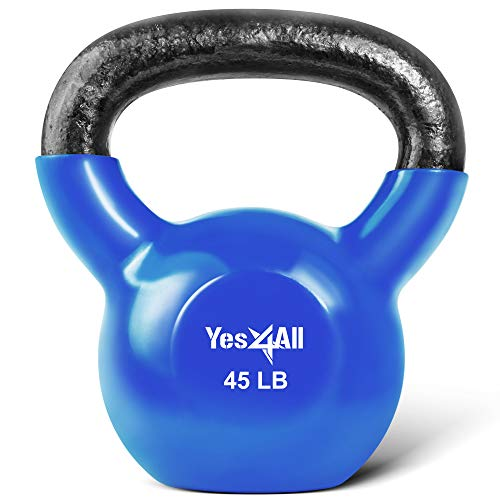 Yes4All Vinyl Coated Kettlebell Weights – Great for Full Body Workout and Strength Training (45Lb - Dark Blue)