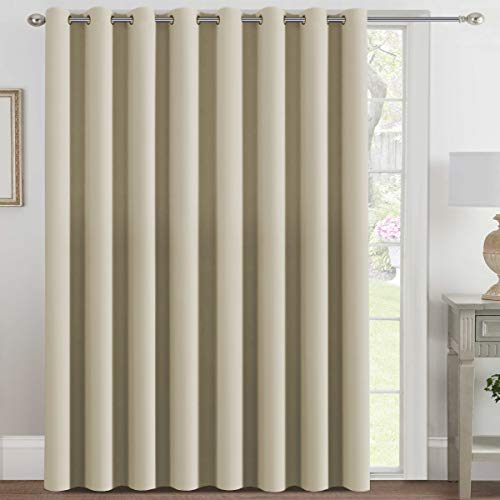 H.VERSAILTEX Blackout Patio Curtains 100 x 108 Inches for Sliding Door Extral Wide Blackout Curtain Panels Thermal Insulated Room Divider - Grommet Top, 9' Tall by 8.5' Wide - Crepe