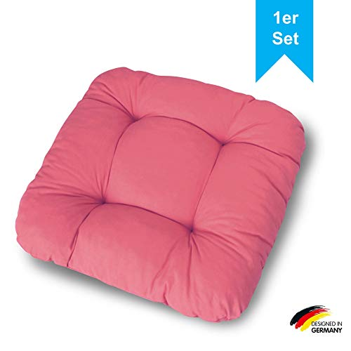 LILENO HOME 1er Set Stuhlkissen Beere (38x38x8 cm) - Sitzkissen für Gartenstuhl, Küche oder Esszimmerstuhl - Bequeme UV-beständige Indoor u. Outdoor Stuhlauflage als Stuhl Kissen