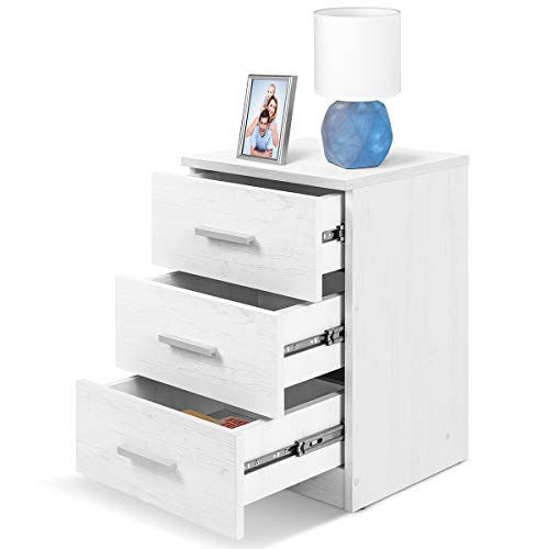 COMIFORT Mesa de Noche - Mesita Auxiliar para el Dormitorio de Estilo Nórdico, Moderna y Minimalista, con 3 Espaciosos Cajones, Muy Resistente, de Color Nordic