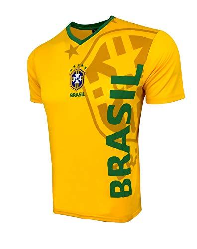 Brasil Soccer National Team Football Shirt for Kids, Licensed Brasil Futbol T-Shirt (Youth Large 10-12 Years) Yellow
