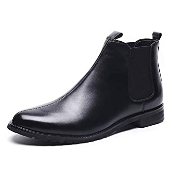 Leo Men s Classic Fashion Leather Chelsea Slip-on Pointed-Toe Casual Business Boots Size 10 Black