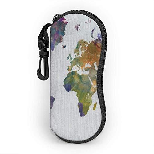 Funda de Gafas Mapa mundial de Wrcolor de grunge dibujado a mano Ultra Ligero Neopreno Suaves viaje Estuche para Gafas de caso Bolsa con Clip de Cinturón