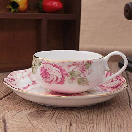 CUP Taza de café de China de hueso Juego de taza de café simple de estilo europeo Té de la tarde inglesa Taza de té rojo Platillo Cuchara,Qa-216