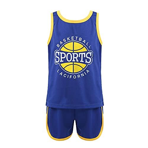 Aislor Completo Sportivo 2 Pezzi Unisex Jogging Corsa Allenamento Ragazzo Completini Coordinati Estivi Ragazzi Maglietta Senza Maniche + Pantaloncini da Basket Bambini Blu 6-8 Anni