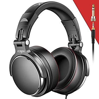 Over-Ear DJ Headphones, Prefessional Studio Monitor Vogek Wired DJ Headset with Stereo Sound for Electric Drum Piano Guitar AMP, 50mm Neodymium Drivers