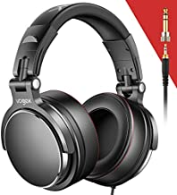 Vogek Over-Ear DJ Headphones, Prefessional Studio Monitor Mixing DJ Headset with Protein Leather Memory Foam Ear Pads, Stereo Sound for Electric Drum Piano Guitar AMP, 50mm Neodymium Drivers