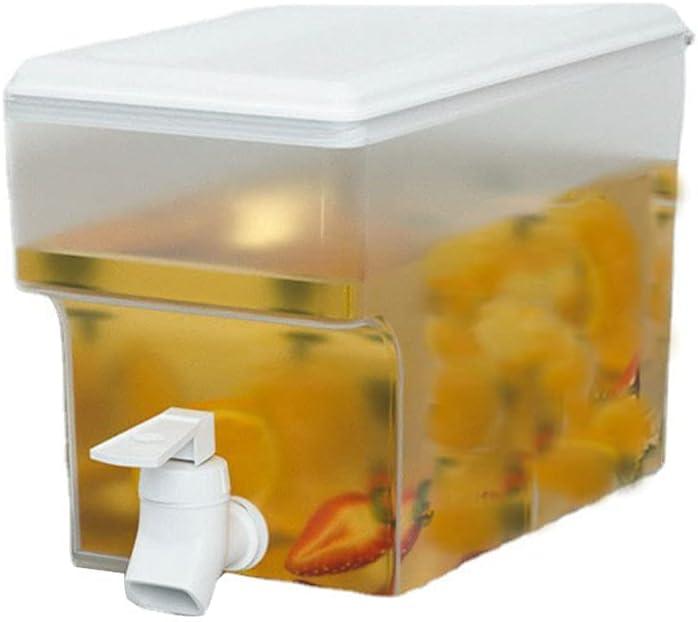 Sweetdecor 3.5L Plastic Water Dispenser with Faucet Fruit Teapot Cold Water Bottle Large-capacity Portable Cold Kettle Juice Bucket Clear Lemon Water Bin