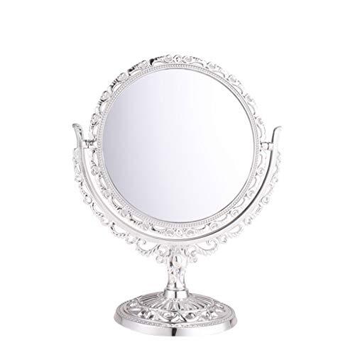 Decorative mirror-QFF Retro princesa Espejo, ahueca hacia fuera el espejo de plata de escritorio de alta definición de origen de espejo decorativo chica Baño 360 ° Giro de doble cara del espejo Espejo