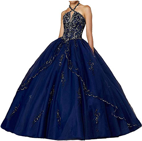 Princess Appliques Quinceanera Dresses Long Sweet 15 16 Ball Gown Party Evening Prom Dress for Women Girls with Train Navy Blue