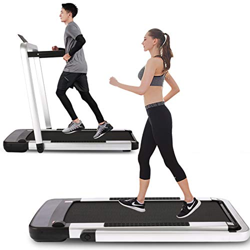 ANCHEER Folding Under Desk Treadmill with Watch Remote Control & APP, 2 in 1 Electric Walking & Running Treadmills for Home Workout, Ultra-Quiet Small Exercise Machine, 2.25HP