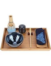 Atyhao bärbar japansk keramisk te visp set med bambu tebricka servettverktyg snygg, miljövänlig matchande teset för 10 personer hemma, på kontoret, i tesalong