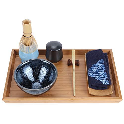 KUIDAMOS Juego de té de bambú + algodón y Lino + cerámica, Juego de té japonés para la Ceremonia del té, Tazas de Cien Flores con Soporte para Cepillo de té para el hogar, Oficina, salón de té