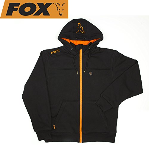 FOX Black/Orange Heavy Lined Hoodie Jacke Kapuzenpullover, Pullover mit Kapuze, Angelpullover, Anglerpullover schwarz/orange, Angeljacke mit Kapuze, Größe:L