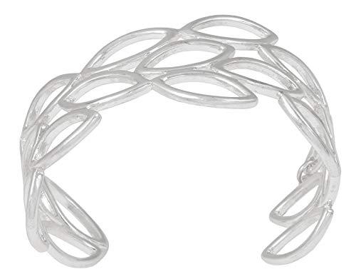 SENCE Copenhagen Damen Armreif Blätter Silber Secret Garden 2019 Serie Birch Bracelet Matt Silver Armspange breit Blattsilhouetten Versilbert 19 cm - K537