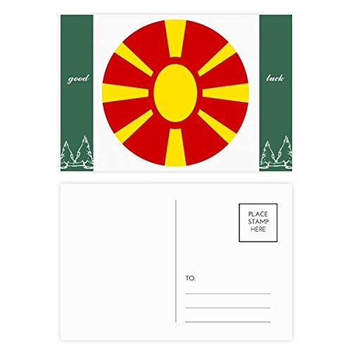Macedonië Europa Nationaal Embleem Veel Geluk Postkaart Set Kaart Mailing Zijde 20 stks