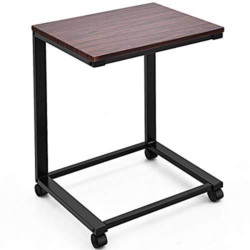 COSTWAY Tavolino Porta PC, Tavolino Laterale per Divano, Tavolo da Caffè con Ruote, Ideale per Studio Soggiorno Camera da Letto, 65 x 50 x 40cm (Nero)