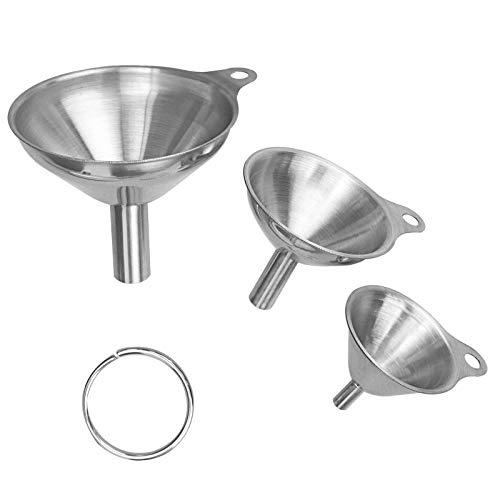 WISMURHI Edelstahl Trichter Set mit Griff Design, 3er Pack Stapelbarer Kleiner Trichter ideal zum Übertragen von Flüssigkeiten, Trockenen Zutaten und Pulver