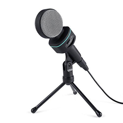 AUKEY Kondensator Mikrofon mit Tischstativ 3.5 mm Kinke für Desktops, Laptops, Smartphones, Tablets