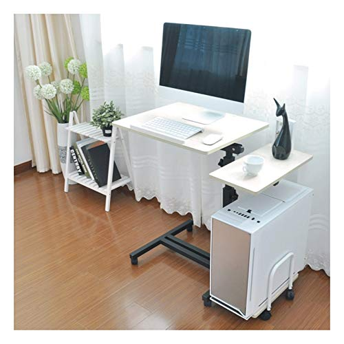ALBBMY Overbed Bedside Table Days Overbed Table,Mobile Laptop Stand Desk 4 Casters (with Locking Device) Can Be Used In The Bedroom, Living Room (Color : White pine color)