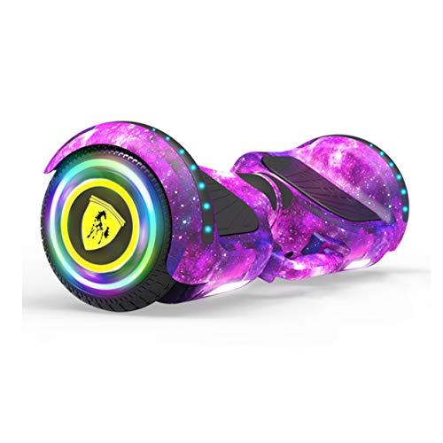 Patinete Eléctrico Auto Equilibrio, Scooter Board, Balance Board + Go-Kart 6.5Pulgadas con Bluetooth, Luces LED, Regalo para Niños, Adolescentes Y Adultos,Púrpura