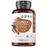 Canela Ceylan Cápsulas Orgánica Dosis Alta 1000mg 180 cápsulas Veganas - Suministro para 3 Meses, Apoya la Digestión 100% natural, Potente Fuente de Antioxidantes, Vitaminas y Minerales, Sin Gluten