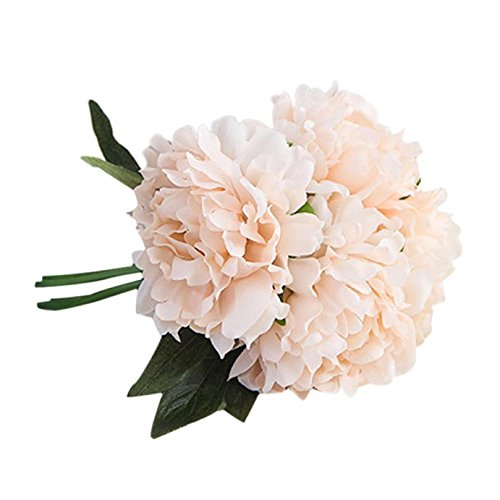 Longra Wohnaccessoires & Deko Kunstblumen Künstliche Seide Kunstblumen Pfingstrose Blumen Hochzeit Bouquet Braut Hortensie Dekor (Pfingstrose 02D: 1 Strauß)