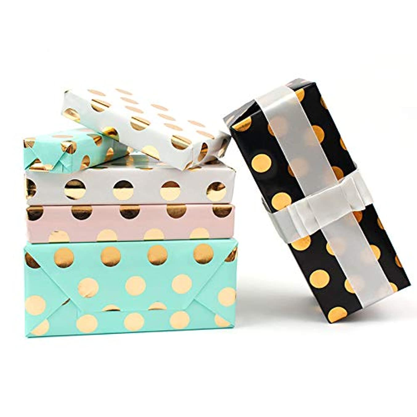 Gift Wrapping Paper Roll-Pink/Green/White/Black (Gold foil Polka dots) - 4 Roll - 27.6