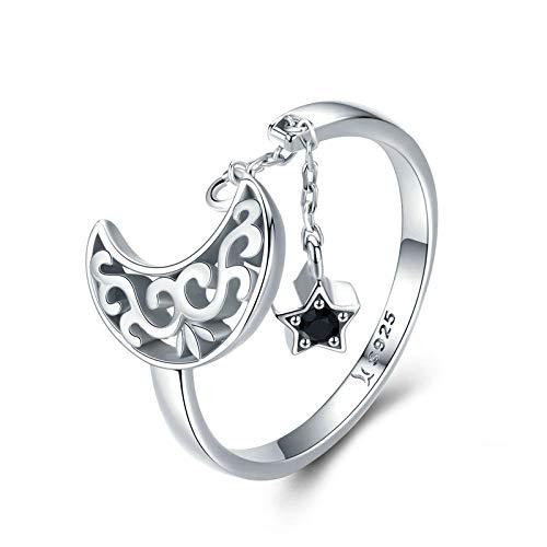 JIARU Anillo de plata de ley 925 para mujer, anillo ajustable, anillo simple de moda y anillo de cielo con luz de estrellas para niña, anillo de dedo abierto