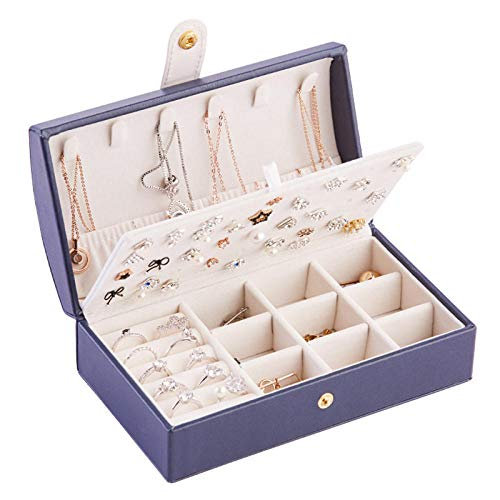Collar Pendientes Anillos Caja De Organizadores De Maquillaje Pulsera Universal Caja De Joyería Elegancia Chica Exhibición Caja De Joyería Cajas Accesorio-Joyero Azul Marino