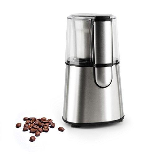 Klarstein Speedpresso - elektrische Kaffeemühle, Universalmühle, 200 Watt Schlagmahlwerk, EIN-Knopf-Steuerung, individueller Mahlgrad, Sicherheitsschalter, 65 g maximale Kapazität, Silber
