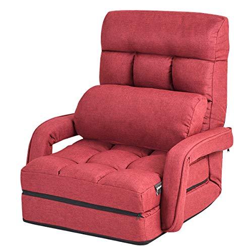 GIANTEX Schlafsessel klappbar, Klappsessel Klappsofa mit Armlehnen & Kissen, Rücklehne in 5 Stufen verstellbar, Bettsessel Funktionssessel für Wohnzimmer und Büro (rot)