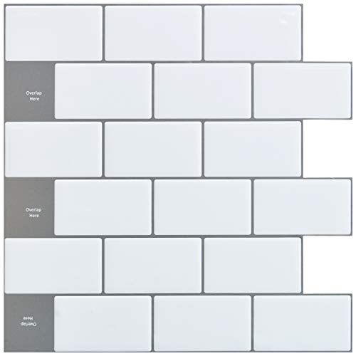 Art3d 12'x12' Peel and Stick Backsplash Tile Subway Sticker White for Kitchen (10-Sheet)