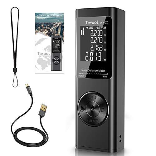 Laser Measure 196 Ft/60M Tavool Laser Tape Measure M/In/Ft Digital Laser Measurement Tool Device Distance Meter Laser Measuring Backlit USB Rechargeable Mute Angle Sensor Measure Distance Area Volume