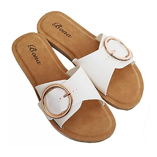 Zapatillas de playa para mujer, zapatillas de playa para piscina al aire libre, baño, hebilla redonda, verano, transpirable, diario, sandalias para el hogar para mujer, zapatos