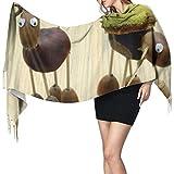 Sciarpa leggera animale creativo divertente castagna per donna Sciarpa in cashmere Sciarpa lunga grande morbida Pashmina extra calda