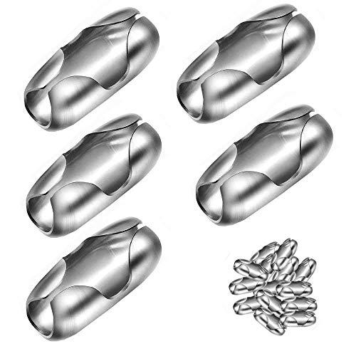 No Branded 200 Stück Edelstahl-Kugelkettenverbinder Verschlüsse für Raffrollo, Edelstahlfarbe zum Verbinden von Halskette, Armband, Schlüsselanhänger, Erkennungsmarken etc.