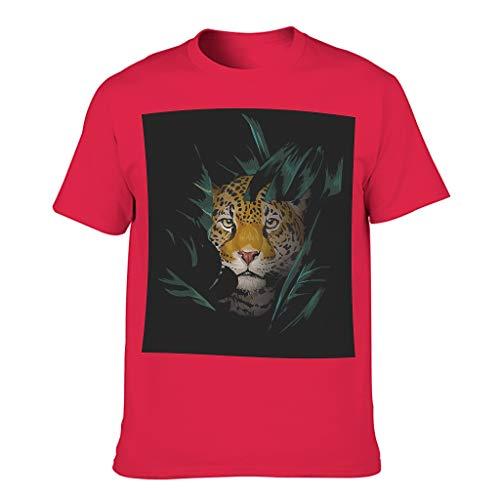 Camiseta básica de manga corta colorida de leopardo de la palma para novio novia